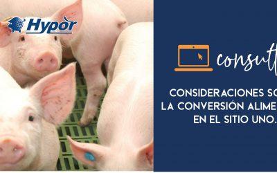 Consideraciones sobre la conversión alimenticia en el sitio uno.